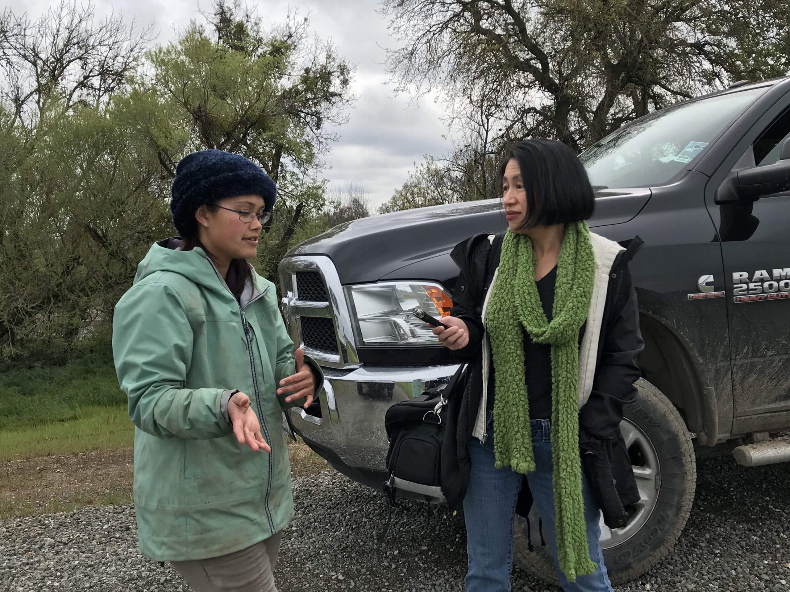 Ching Lee,  Assistant Editor for Ag Alert, interviews Rachelle Tallman (UC Davis) about the project at River Garden Farms.